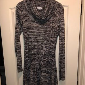 BLACK & GRAY CALVIN KLEIN TURTLENECK SWEATER DRESS